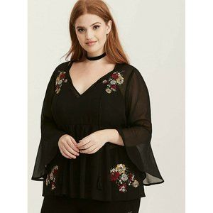 Torrid  Embroidered Chiffon Bell Sleeve Blouse 00
